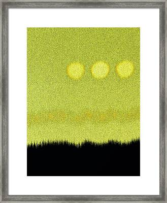Three Moons In Yellow Sky Framed Print by James Mancini Heath