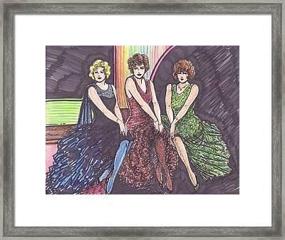 Three Movie Ladies Framed Print by Mel Thompson