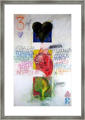 Framed Print featuring the painting Three Of Hearts 32-52 by Cliff Spohn