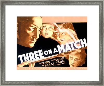 Three On A Match, Warren William, Joan Framed Print