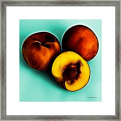 Three Peaches - Cyan Framed Print by James Ahn