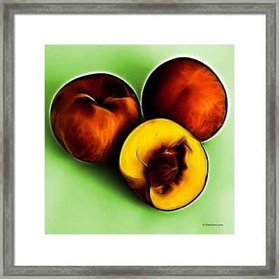Three Peaches - Green Framed Print by James Ahn