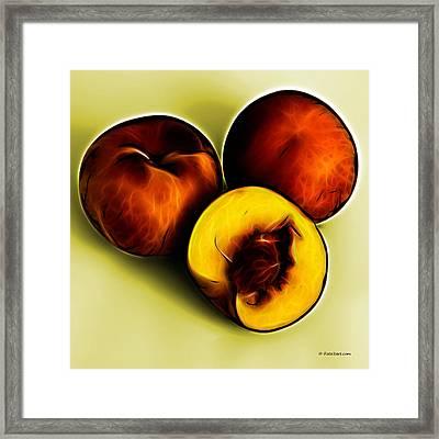 Three Peaches - Yellow Framed Print by James Ahn