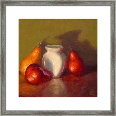 Framed Print featuring the painting Three Pears by Joe Bergholm