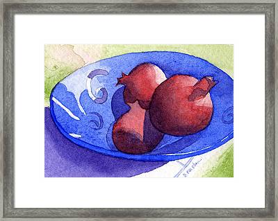 Three Poms In Blue Bowl Framed Print by Eunice Olson