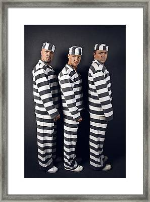 Three Prisoners. Group Of Men In Suits Of Convicts. Framed Print