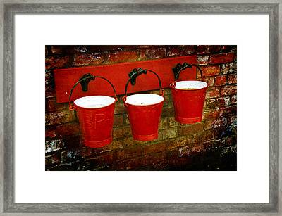 Three Red Buckets Framed Print by Svetlana Sewell