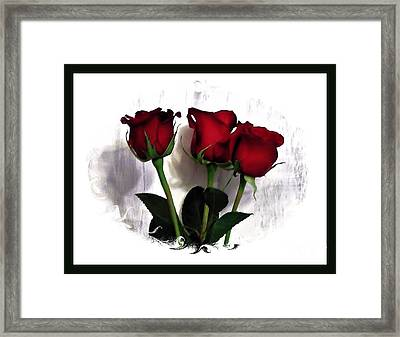 Three Red Roses In A Frame Framed Print by Marsha Heiken