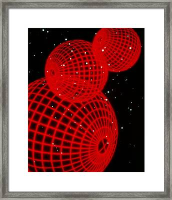 Three Red Wire-drawn Spheres Framed Print by Tony Craddock