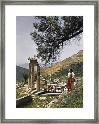 Three Restored Doric Columns Stand Framed Print