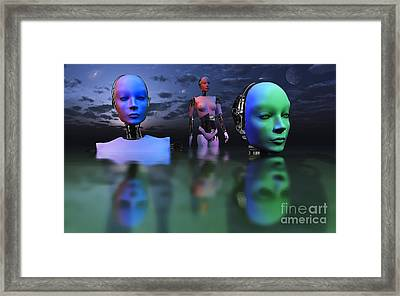 Three Robots Link To Form One Super Framed Print