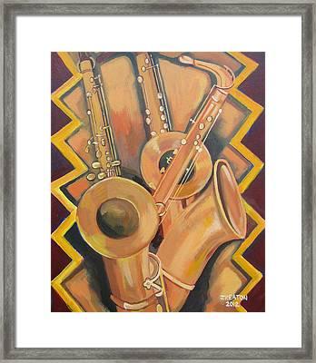 Three Saxophones Framed Print by John Keaton