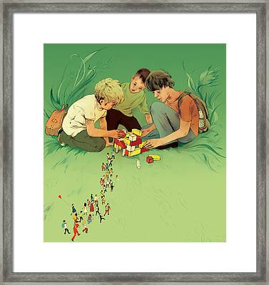 Three School Children Playing Framed Print by Maya Shleifer