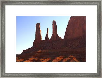 Three Sisters - Monument Valley Framed Print by Mike McGlothlen