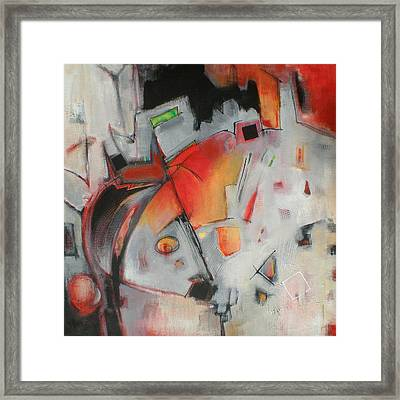 Three Square In Black - Abstract Framed Print by Susanne Clark