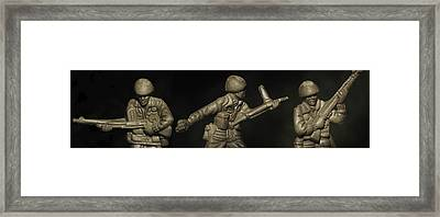 Three Toy Soldiers Of Fortune   Framed Print by Randy Steele