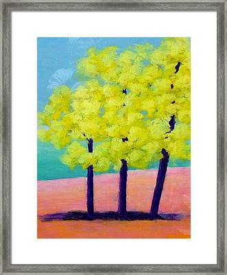 Three Trees On Beach Framed Print by Karin Eisermann