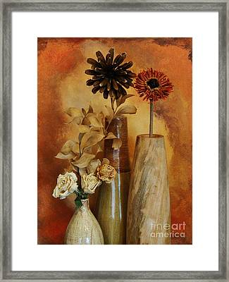 Three Vases Of Dried Flowers Framed Print by Marsha Heiken