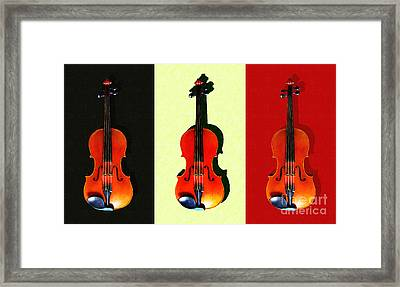 Three Violins . Painterly Framed Print by Wingsdomain Art and Photography