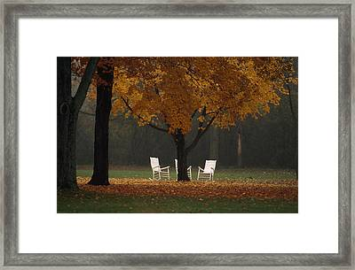 Three Welcoming Rocking Chairs Under An Framed Print by Paul Chesley