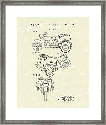 Three Wheel Motorcycle 1954 Patent Art  Framed Print by Prior Art Design