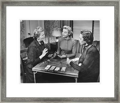 Three Women Playing Cards At Home, (b&w) Framed Print by George Marks