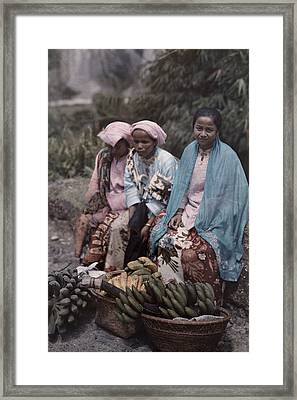 Three Women Traders Sit Framed Print by W. Robert Moore