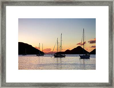 Three Yachts Silhouette Framed Print by Anya Brewley schultheiss