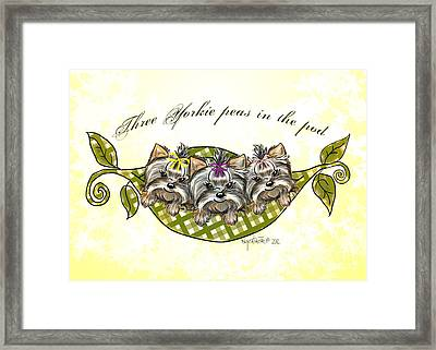 Three Yorkie Peas In The Pod Framed Print