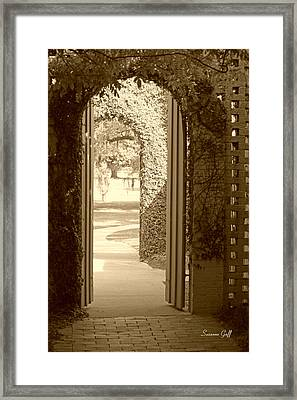 Through The Garden Gate In Sepia Framed Print by Suzanne Gaff