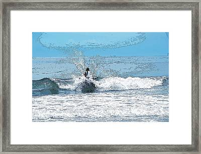 Framed Print featuring the photograph Through  The Wave Blues by Maureen E Ritter