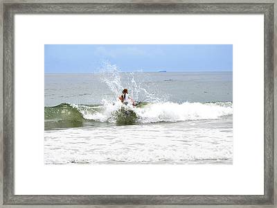 Framed Print featuring the photograph Through The Waves by Maureen E Ritter