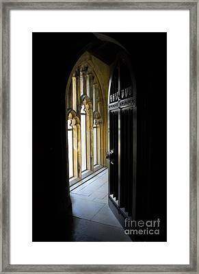 Framed Print featuring the photograph Thru The Chapel Door by Cindy Manero