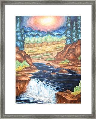 Thru The Mountains Framed Print by Cheryl Pettigrew