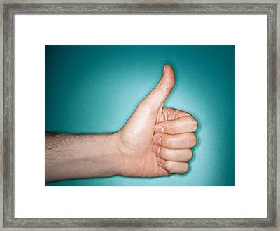 Thumbs Up Sign Framed Print by Lawrence Lawry