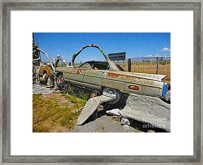 Thunder Mountain Indian Monument - Car Wrecks Framed Print by Gregory Dyer
