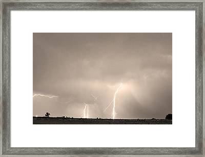 Thunderstorm On The Plains Bw Sepia Framed Print by James BO  Insogna