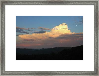 Thunderstorm Over Deerfield River And Green Mountains Framed Print by John Burk