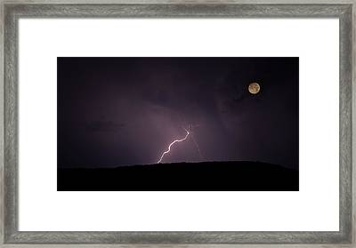 Thunderstorm, Thunderbolt, Lightning, Flash Moon Framed Print by Rainer Pfingst