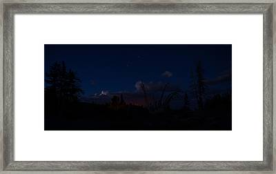 Thunderstorm With Wildfire Glowing From Minarets Vista Mammoth Lakes California Framed Print