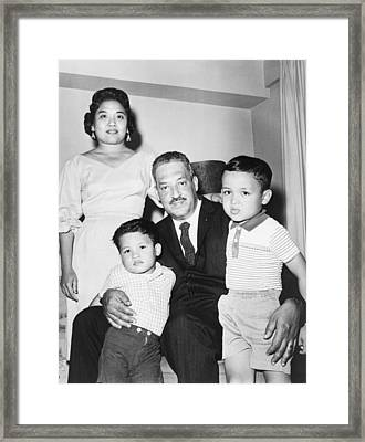 Thurgood Marshall With His Wife Framed Print by Everett