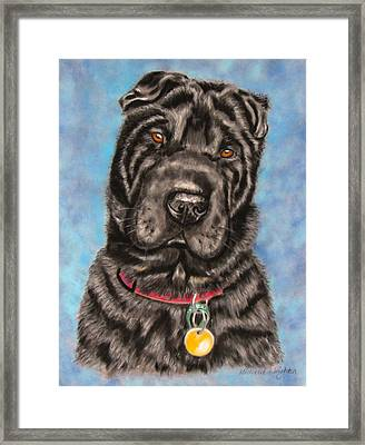 Tia Shar Pei Dog Painting Framed Print by Michelle Wrighton