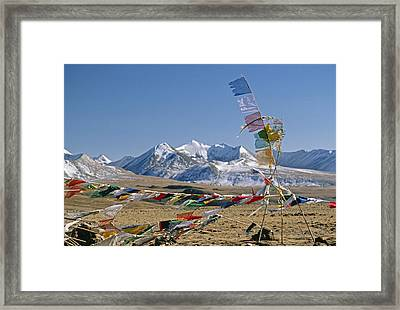 Tibetan Buddhist Prayer Flags Atop Pass Framed Print by Gordon Wiltsie