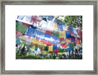 Tibetan Buddhist Prayer Flags Framed Print