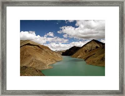 Tibetan Lake Framed Print by James Mancini Heath