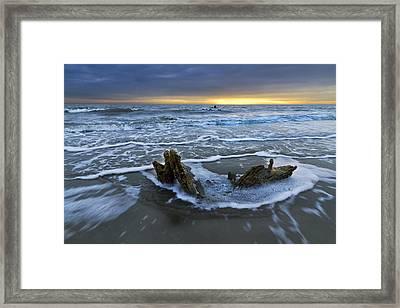 Tides At Driftwood Beach Framed Print by Debra and Dave Vanderlaan