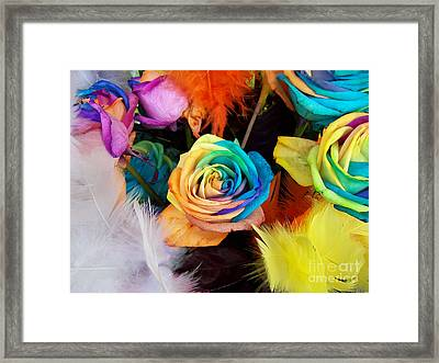 Framed Print featuring the photograph Tie Dyed Roses In Japan by Cheryl McClure