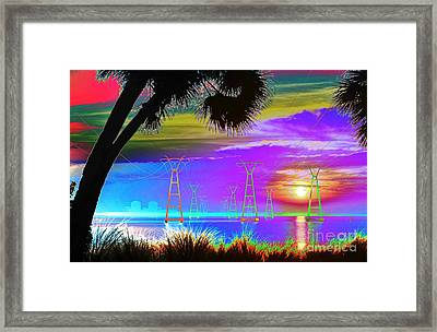 Tie-dyed Sunrise At The Plant Framed Print