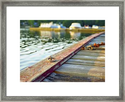 Tie-up Ring On Dock On A Central Ontario Lake Framed Print