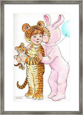 Tiger And Bunny In The Children's Parade Framed Print by Dee Davis